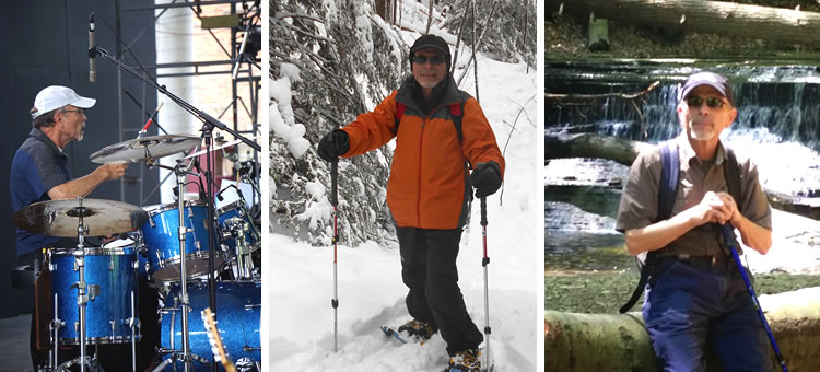 Richard Kandelac playing drums, skiing, hiking